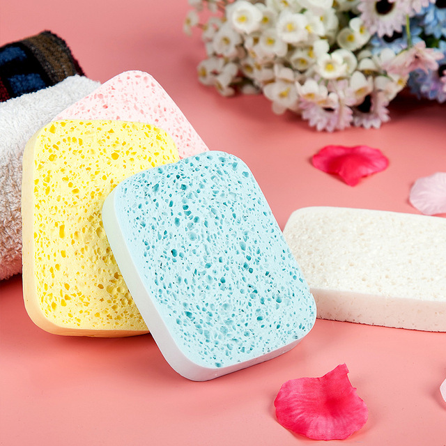 CN-RUBR Hot Sale New Facial Cosmetic Puff Colorful Natural Wood Pulp Face Tools Wash Discharge Cleaning Sponge for Women Girls