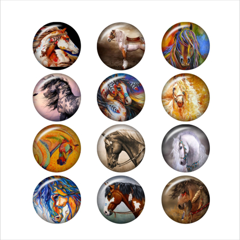 Charm Bracelets Bracelets & Bangles Expressive Horse Glass Snap Button For Snaps Jewelry Round Photo Cabochons Da1070