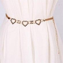 Women Designer Belts Chain Dress Jeans Waistband Slimming Diamond Fashion Joker Set Auger Love Silver&Gold Belt Cinturones Mujer