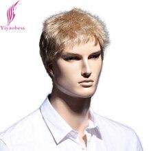 Yiyaobess 6inch Straight Blonde կարճ կեղծամ բնական մազերով տղամարդիկ Heերմակայուն սինթետիկ սանրվածքներ