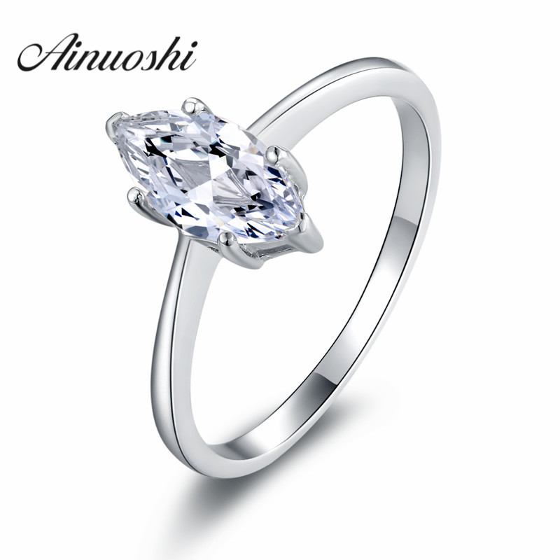 ainuoshi wholesale 1 carat sparkling marquise cut solitaire ring sona wedding engagement bridal anniversary bridal band