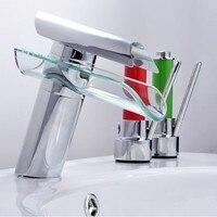Çarpıcı Banyo Musluk Gelişmiş Modern Cam Şelale çağdaş Krom Pirinç Banyo havzası evye Mikser şelale Dokunun