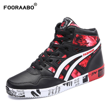 Fooraabo 2018 New Print Luxury High Top Mens Casual Shoes Leather Flats Autumn Hip Hop Men Sneaker Leather Shoes Big Size 38-45