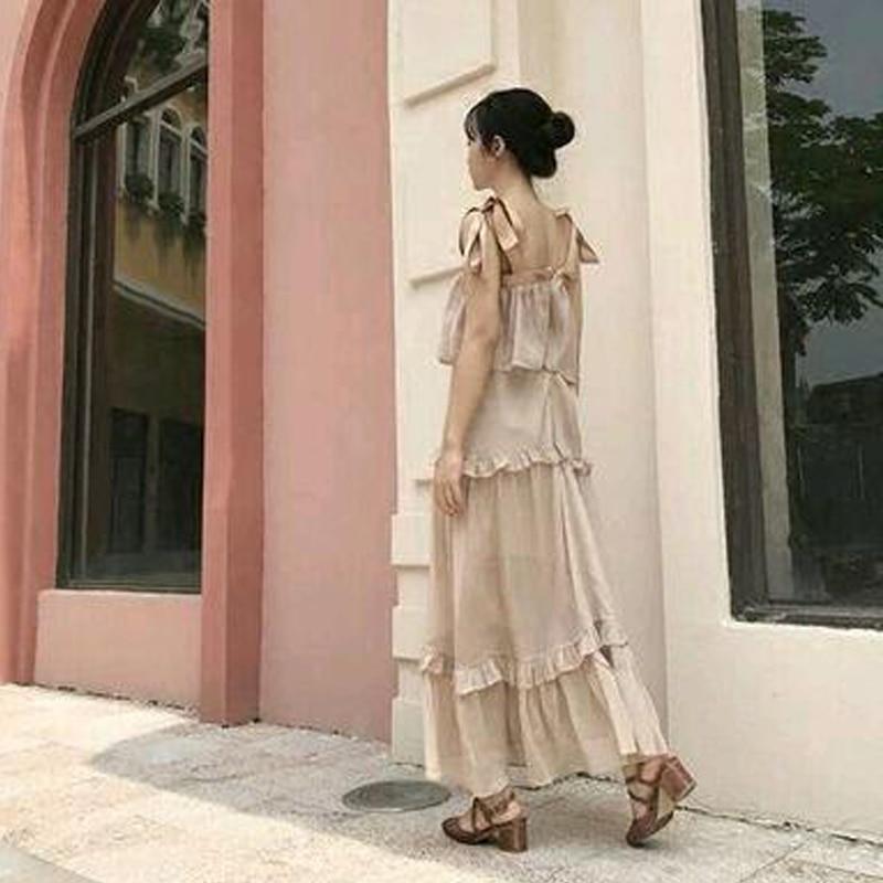Plum ripe ripe, gentle wind hanging long Chiffon fairy dress, 2018 summer new first love