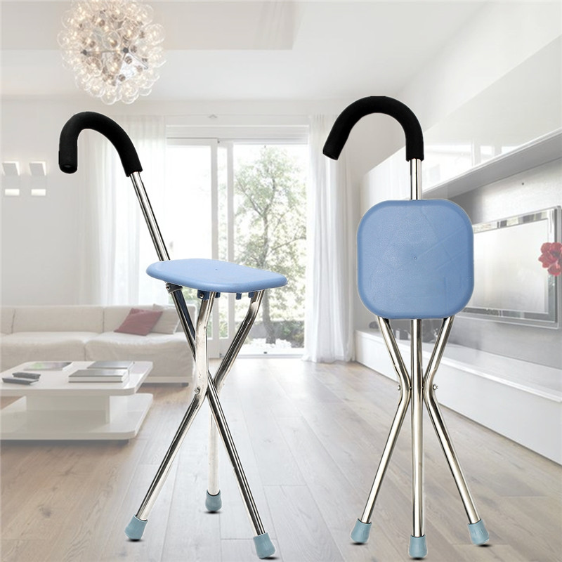 Walking Stick Chair Stainless Steel + ABS Max Load 100kg Foldable Light Weight with Seat Portable  for Rambling Walk Sport vik max adult kids dark blue leather figure skate shoes with aluminium alloy frame and stainless steel ice blade