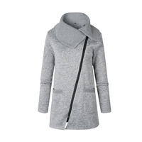 Women Jacket Warm Fleece Clothes Slant Zipper Collared Coat Autumn Winter Casual Clothing Overcoat Tops Female