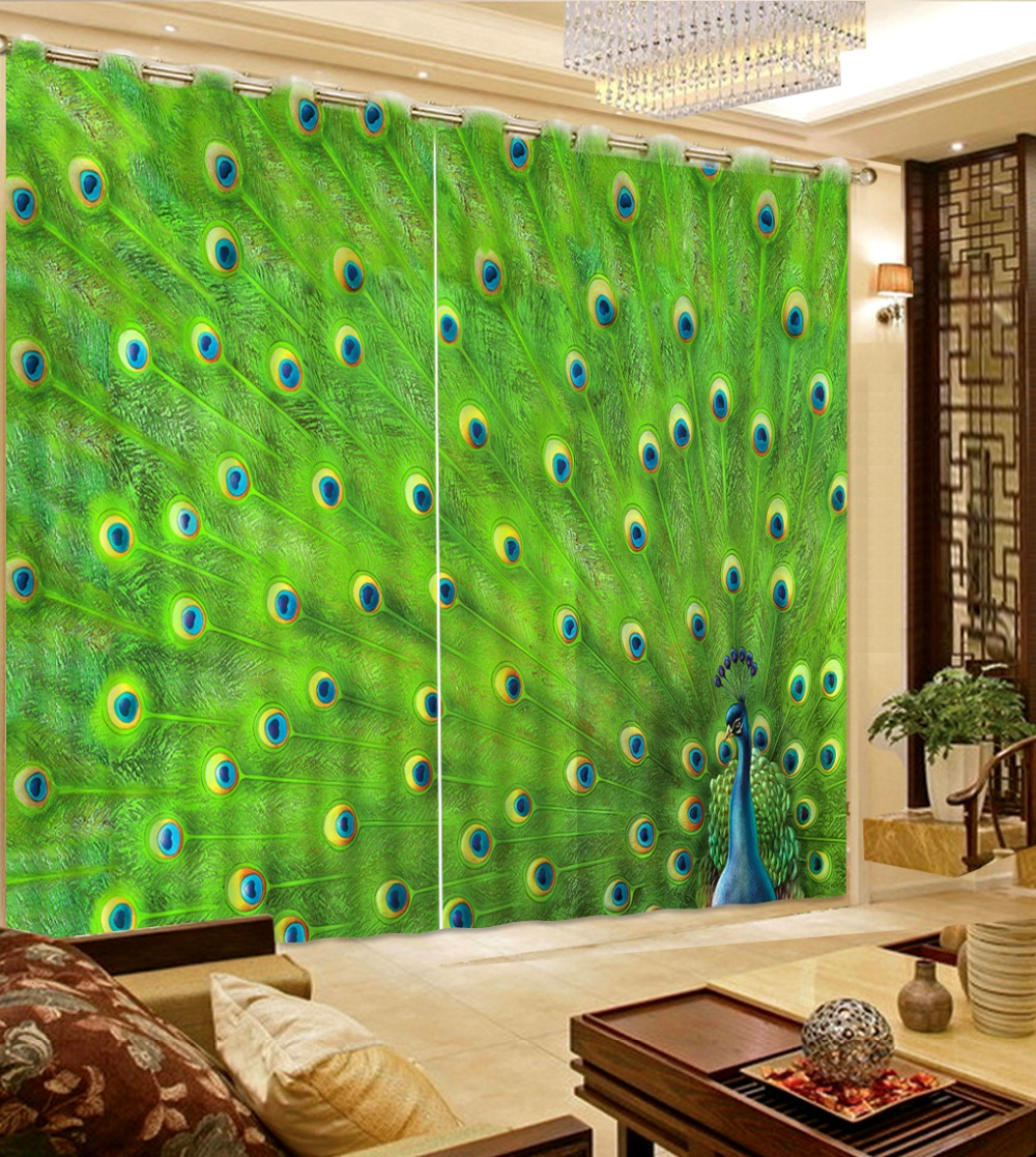 peacock curtains  photo Blackout Window Drapes Luxury 3D Curtains For Living room Bed room Office Hotel Home green curtains