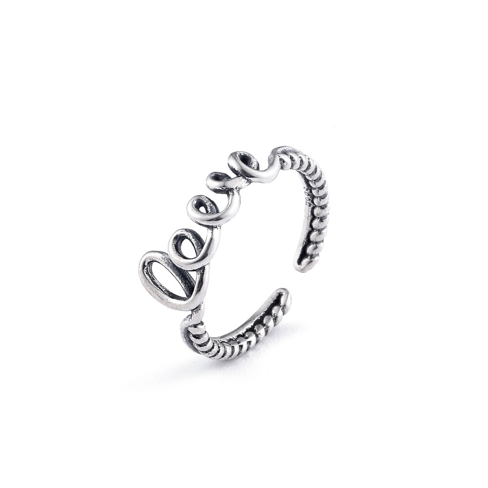 Sterling Silver 925 Vintage Letters One Size Adjustable Anniversary Ring Jewelry Gift