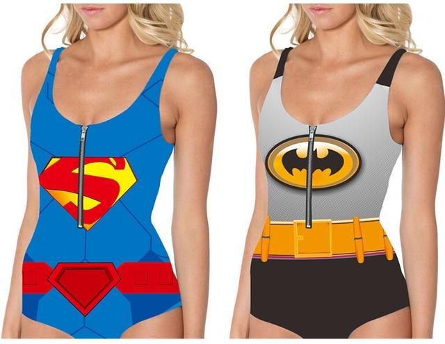 c2a607f72053e Women BATMAN Beachwear SUPERMAN Bikini Dress With Zipper One Piece Super  Hero Swimsuit BAT MAN Woman Bathing Suit LNSkd
