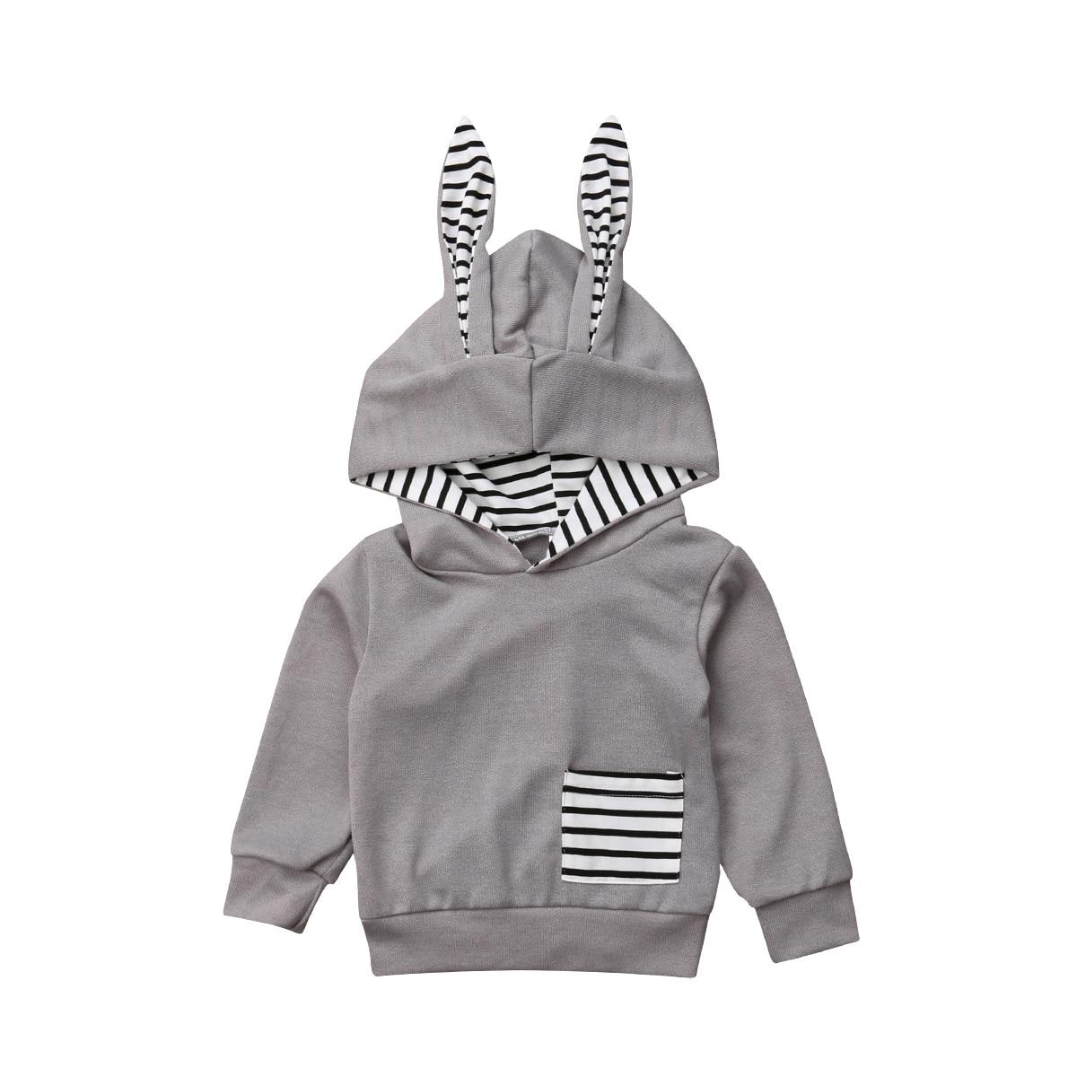 2018 Baby Jungen Mädchen Ohr Mit Kapuze Mantel Jacke Kleinkind Kinder Kaninchen Ohren Hoodies Outfit Kleidung 0-4 T Outfits