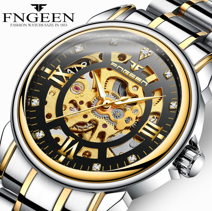 FNGEEN Mens Watches Top Brand Luxury Mechanical Watch Hollow Engraving Case Skeleton Dial Sport Watches Relogio MasculinoFNGEEN Mens Watches Top Brand Luxury Mechanical Watch Hollow Engraving Case Skeleton Dial Sport Watches Relogio Masculino