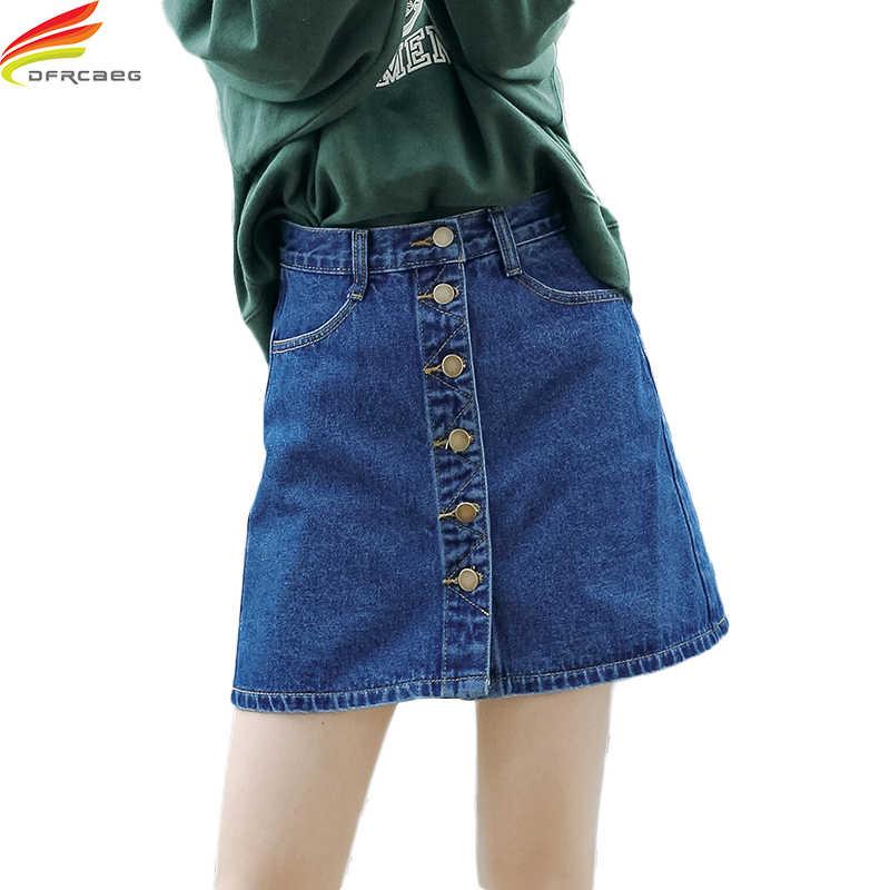 aff207c08a9 High Waist Button Line A-line Jeans Skirt 2018 Spring Summer New Arrivals  Blue Casual