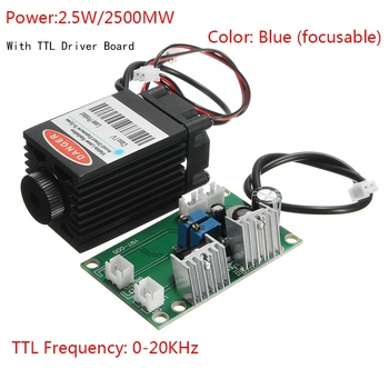 Grabado Láser 25000 W 1,6 MW módulo láser Blu ray 12 V 450nm con controlador TTL para máquina de grabado CNC DIY