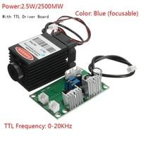 Incisione laser 2.5 W 25000 MW modulo laser Blu ray 12 V 450nm Con TTL Driver Per DIY CNC Incisione macchina