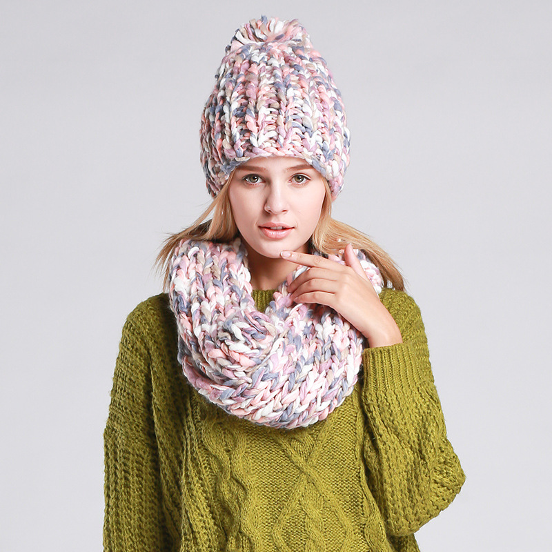 Women's Accessories Women Handmade Weaving Autumn &winter Knitted Hat Scarf Two-piece Suit Mixed Color Thick Warm Wool Warm Set For Ladies Na24 Online Shop