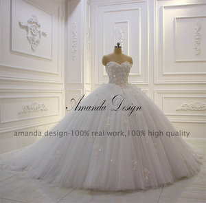 Image 3 - Amanda Design vestido de novia manga larga Strapless Lace Applique Puffy Ball Gown Wedding Dress