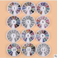 12pcs/lot Nail art decorations nails accessoires painted pottery nails metal round beads shaped drill disc