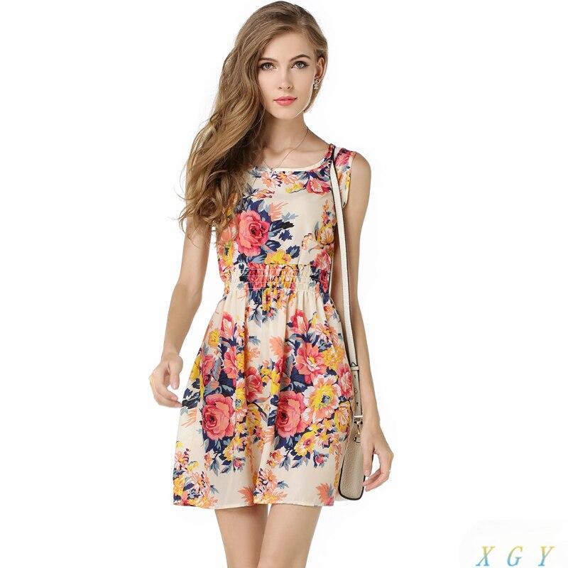 c447994122 Casual Flower Spring Summer Women Dress Casual Floral Sleeveless Vest  Printed Beach Chiffon Dress Women Clothing Fashion Dress-in Dresses from  Women's ...