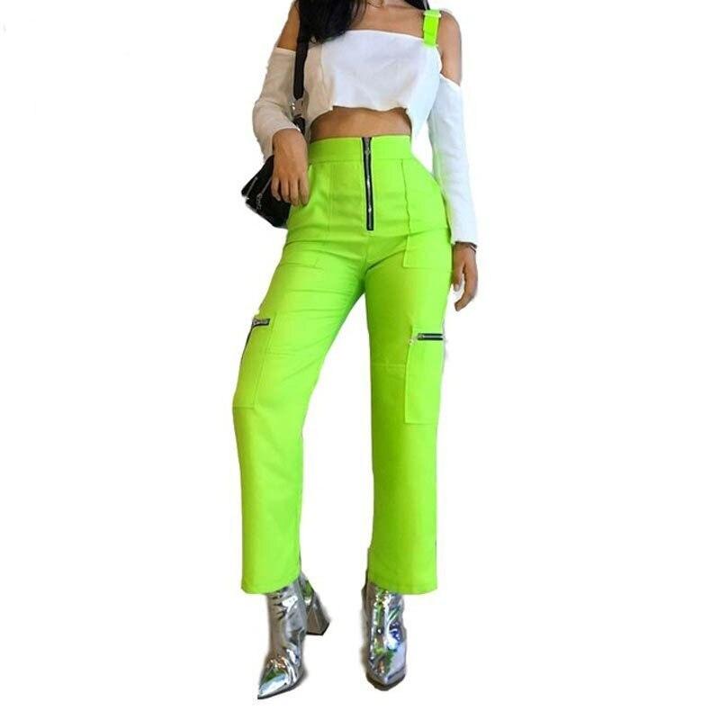 ZADORIN 2019 Summer New Neon Green Wide Leg Cargo Pants Women High Waist Streetwear Baggy Pants Women Sweatpants pantalon mujer Price $27.75