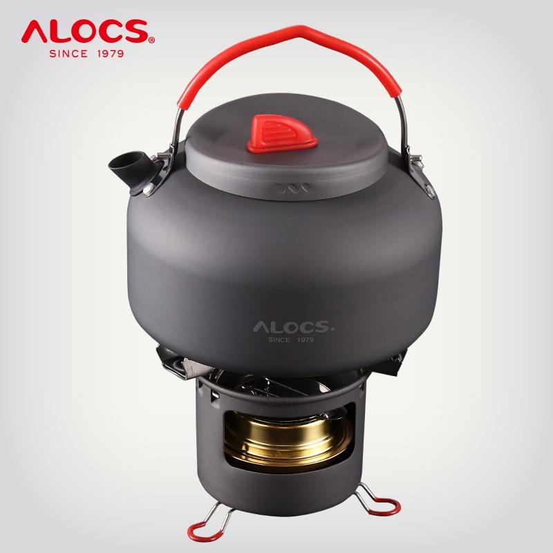 ALOCS K04PRO Outdoor Camping 1 4L Water Kettle Teapot Cooking Set Cookware Alcohol Stove Spirit Burner