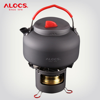 ALOCS K04PRO Outdoor Camping 1.4L Water Kettle Teapot Cooking Set Cookware Alcohol Stove Spirit Burner Support Stand Hiking