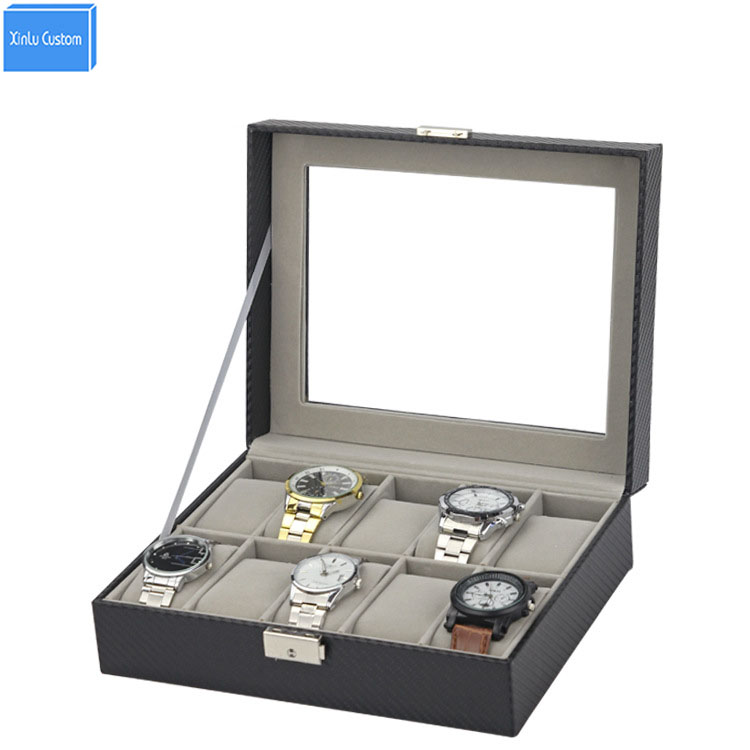 Black Nice Carbon Fiber 10 Slots Jewelry Watch Box Large 10 Mens Leather Display Glass Top Jewelry Case Organizer with Locky&Key solid wood watch case organizer with mens 5 slots acrylic clear window display