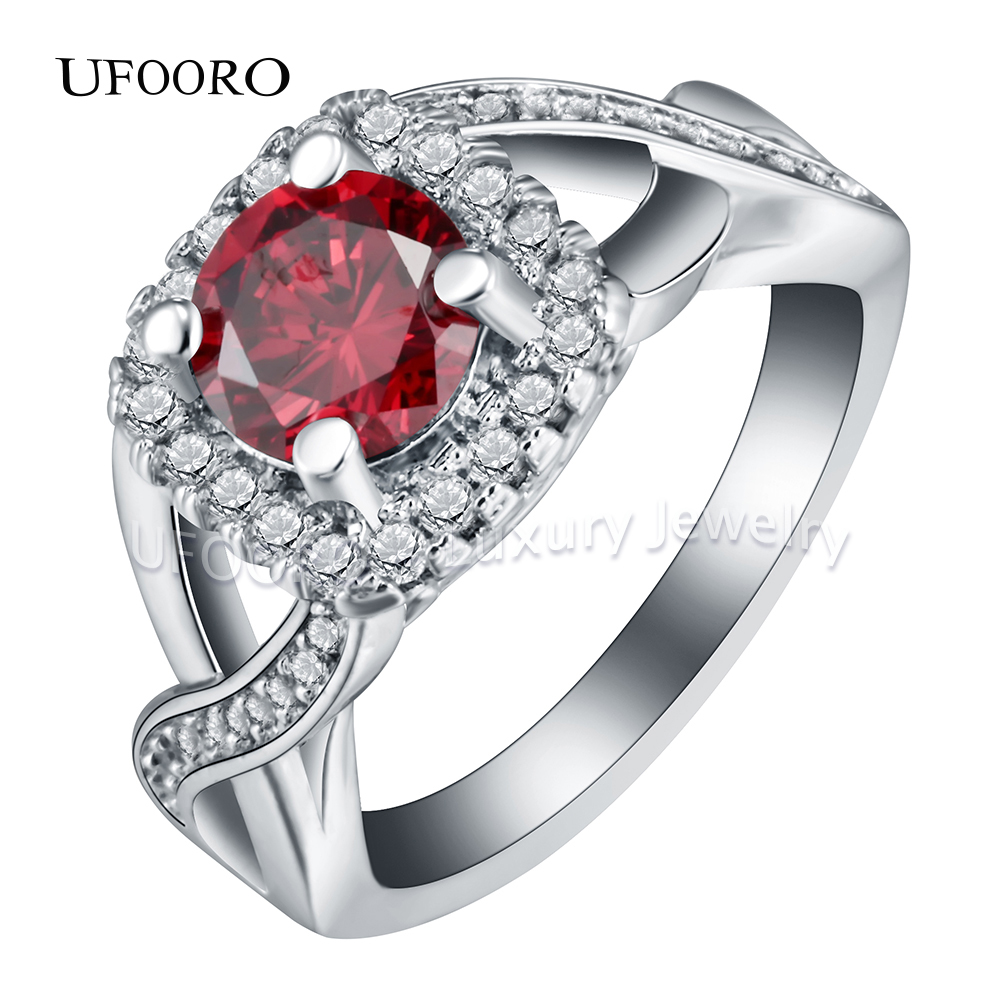 UFOORO silver color elegant Purple CZ stone crystal engagement rings for women princess fashion jewellery accessories