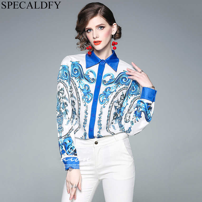 ead66d36989 Detail Feedback Questions about 2019 Spring Long Sleeve Shirt Womens Tops  And Blouses Runway Designer Print Chemise Femme Ladies Office Shirts Camisa  ...