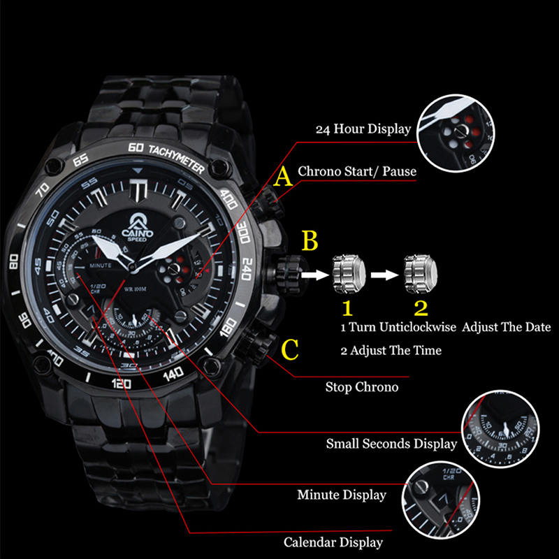 CAINO Men Fashion Business Quartz Wrist Watch Luxury Top Brand Full Steel Strap Waterproof Sports Watches Male Relogio Masculino