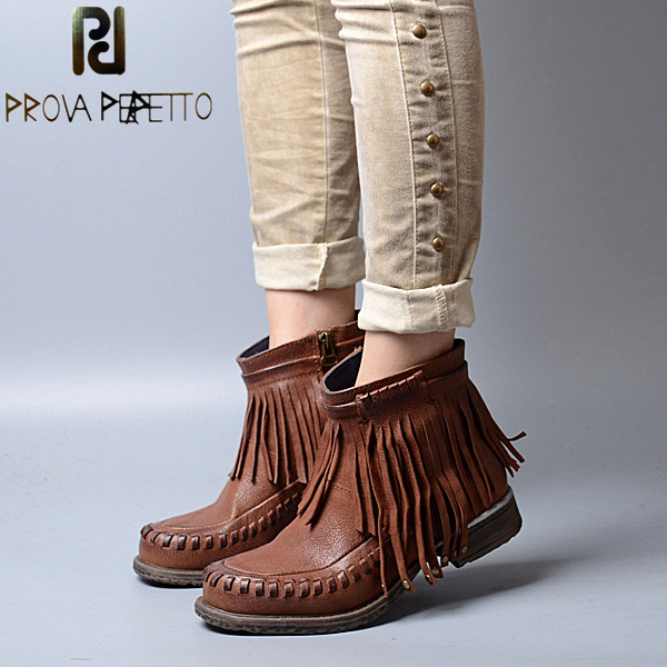 Prova Perfetto Autumn Winter Fringe Women Martin Boots Round Toe Flats Women Ankle Boots Fashion Sweet Tassel Side Zipper Boots prova perfetto autumn winter new genuine leather low heel women mid calf boots round toe thick bottom comfortable martin boots