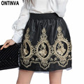 Golden Embroidery Tulle Skater Skirts Womens Floral Double Slit Skirt High Waist Skorts 2017 Spring Vintage Pleated Winter Skort