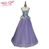 AnXin SH púrpura cordón pirncess vestido de noche de encaje blanco flor azul púrpura vestido de noche de Partido de las señoras riza el Vestido de Noche