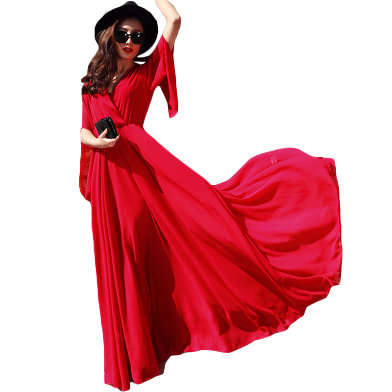 European Popular Women S Summer Bohemian Maxi Long Dress Vintage Flare Sleeve Sexy V Neck Casual