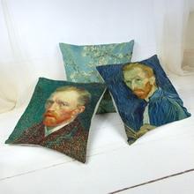 Funda de cojín con patrón de personaje de estilo Retro Vintage serie de pintura al óleo Van Gogh funda de cojín de decoración de sofá de oficina en casa 45X45cm