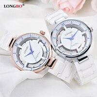 LONGBO 2018 Fashion Ceramic Quartz Wrist Women Watch Ladies Gold Wristwatch Top Brand Female Clock Montre