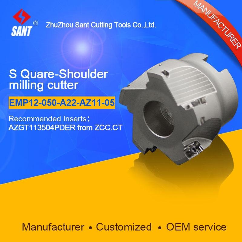 Suggested EMP12-050-A22-AZ11-05 Indexable Milling cutter SANT EMP12-050-A22-AZ11-05 with  AZGT113504PDER carbide insert hot selling indexable profile milling cutter bmr01 020 xp20 s tool holder matched for carbide insert spmt060304 zdet08t2cyr10