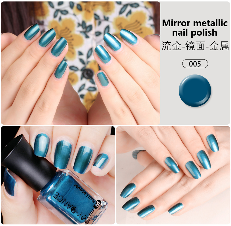 2017 New 5 Colors Metallic Mirror Nail Polish Silver Color Polish ...