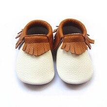 Nouveau-né Véritable En Cuir Bébé mocassins premiers Marcheurs Doux brun Bébé garçon chaussures infantile Fringe Chaussures taille 0 à 5