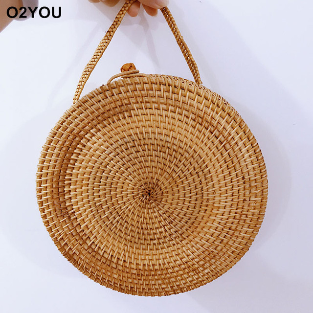 Straw Bags Circle Rattan Bag Tassel Beach Women Small Bohemian Bali Handbag Summer 2017 Handmade