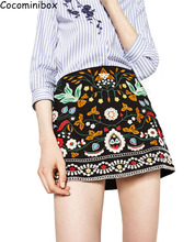 Cocominibox Women's Spring Winter Flower Embroidery Skirt  A-Line Corduroy Short Skirt