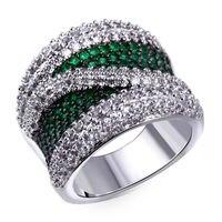 Brand New Colors Women CZ Ring Top Quality Multi Pink Green Blue Cubic Zirconia Setting Rhodium & Gun Plate Bridal Wedding Git