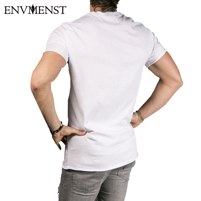 2018 Ny mænds fashion show Stilfuld lang t-shirt Asymmetrisk side - Herretøj - Foto 5