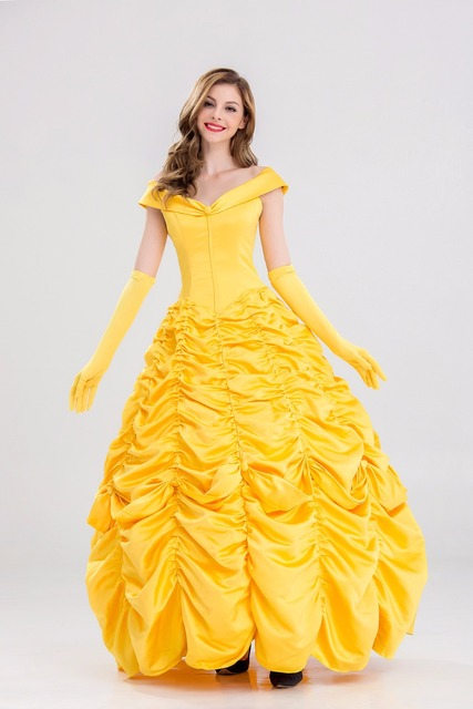 s 4xl beauty and the beast halloween princess belle cosplay dress yellow party carnival fancy