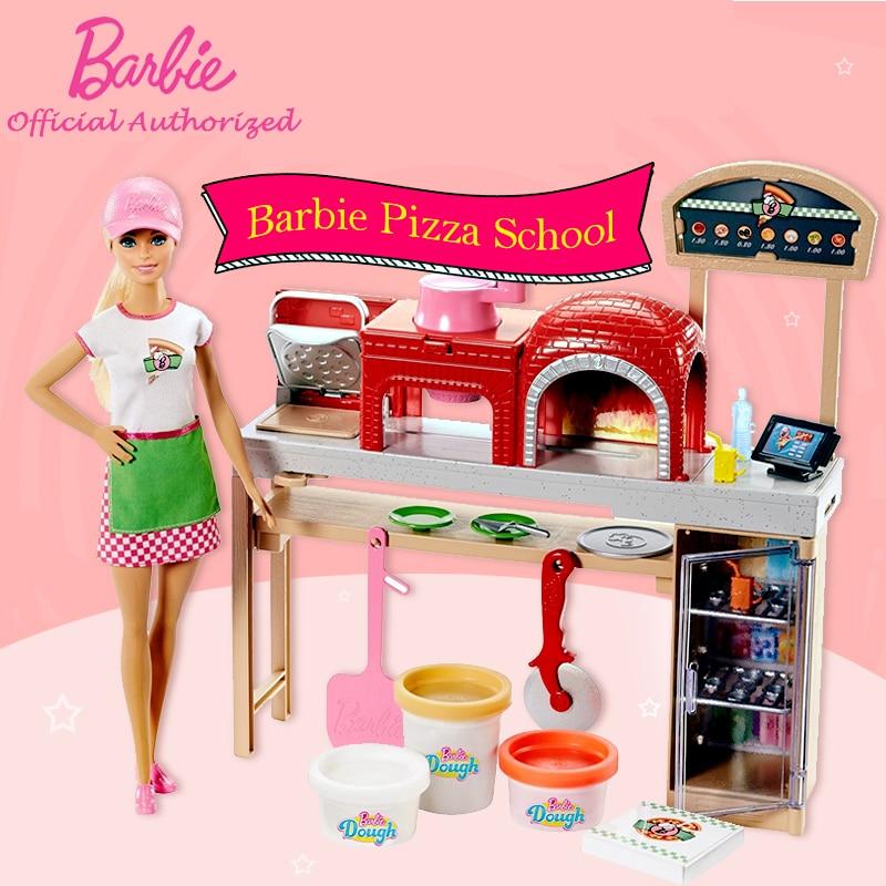 Barbie 2018 Gaya Baru Cantik Barbie Gadis Boneka Mainan Pizza Guru Belajar Memasak Berpura Pura Mainan Juguete De Cocina Boneka Barbie Fhr09 Boneka Aliexpress