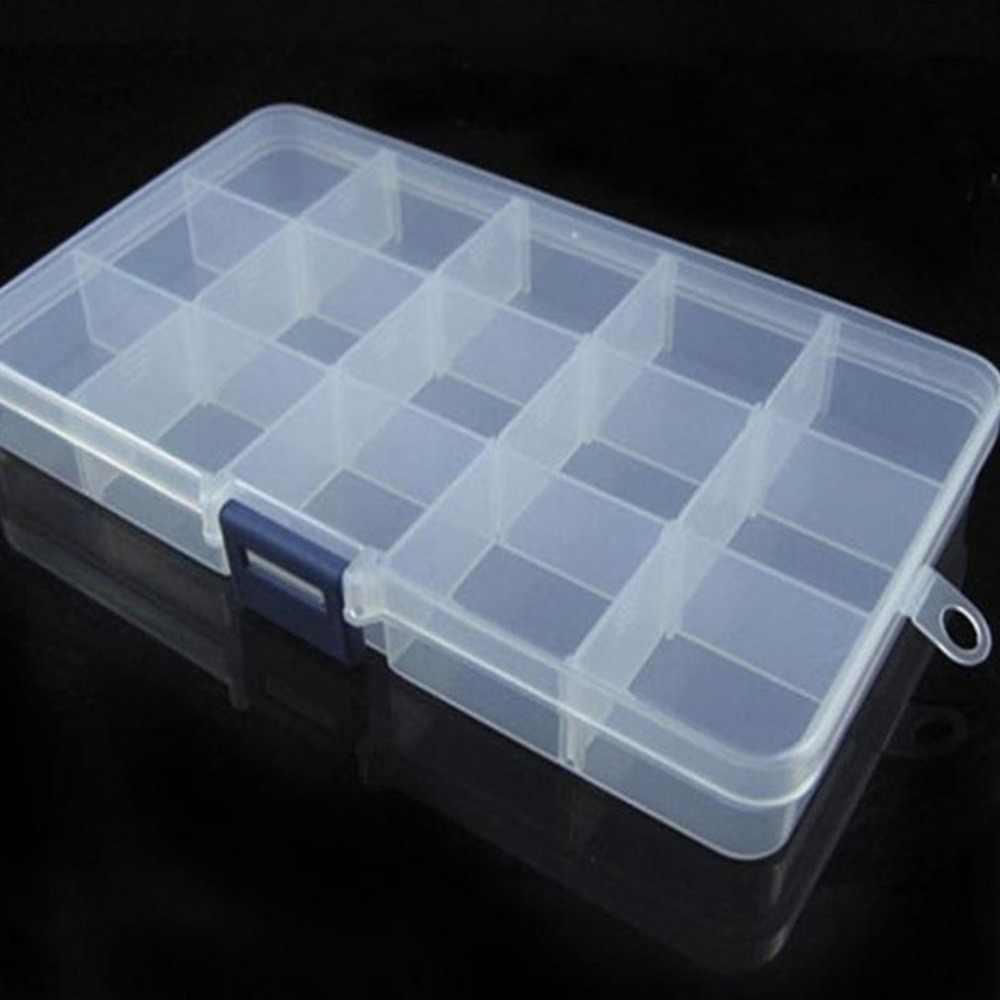 15 الشبكة الإبداعية صندوق تخزين مع إزالة فواصل الأشياء الثمينة والمجوهرات النقدية صندوق بلاستيكي شفاف المنظم تخزين الحاويات