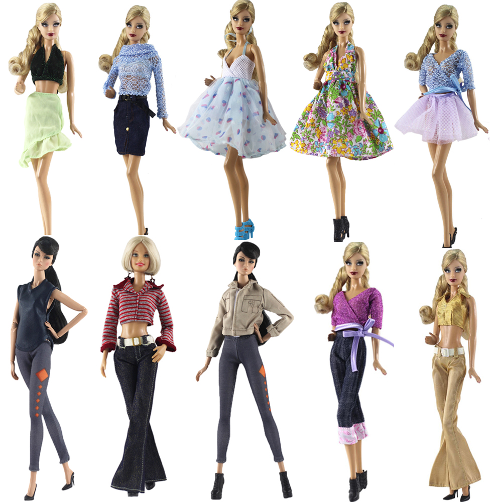 NK 2020  Doll Dress Beautiful Skirt Handmade Party Clothes  Fashion Dress For Barbie  Doll Accessories Child Toys Girls'Gift JJ