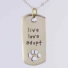 cheap Live Love Adopt Cat tag Dogs necklace low price Pet Rescue dog tag Necklace cheap pet Paw Print Tag pet Dog necklace