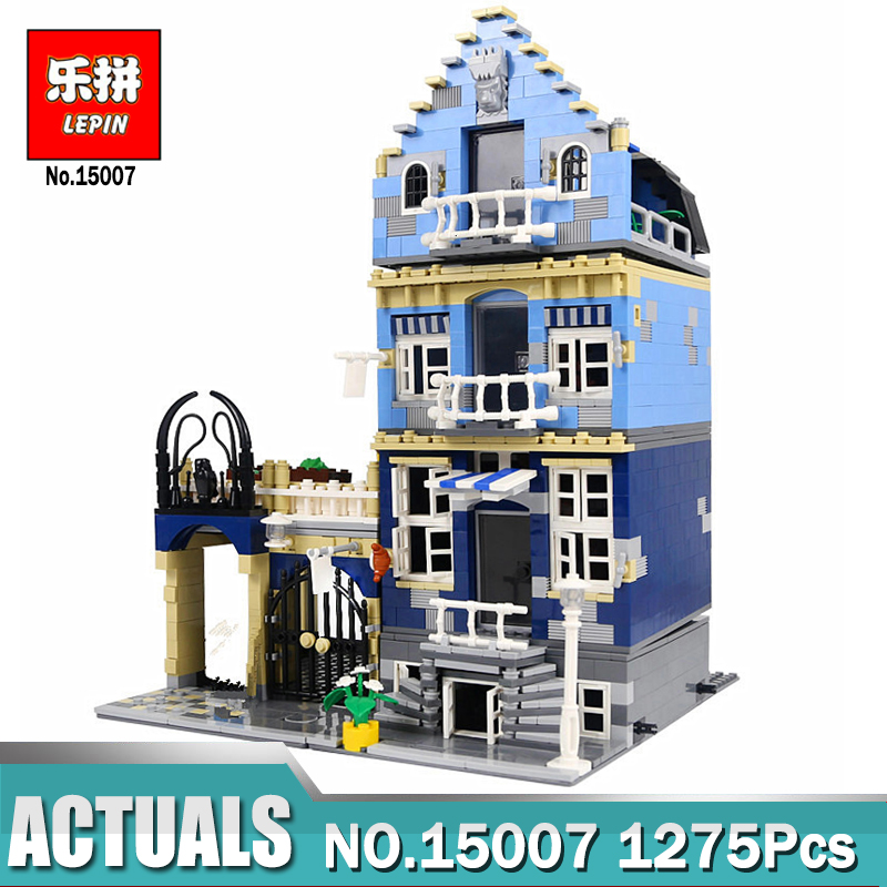 Lepin 15007 City Street European Market Model Building Block Set  Compatible LegoINGlys 10190 Bricks Toys  Children Model Gifts compatible lepin city block police dog unit 60045 building bricks bela 10419 policeman toys for children 011