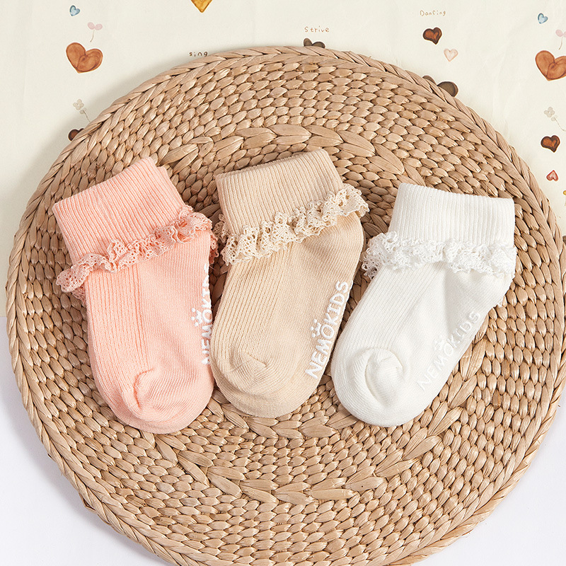 3 pairs of baby socks spring and summer cotton solid color double needle side slip girls