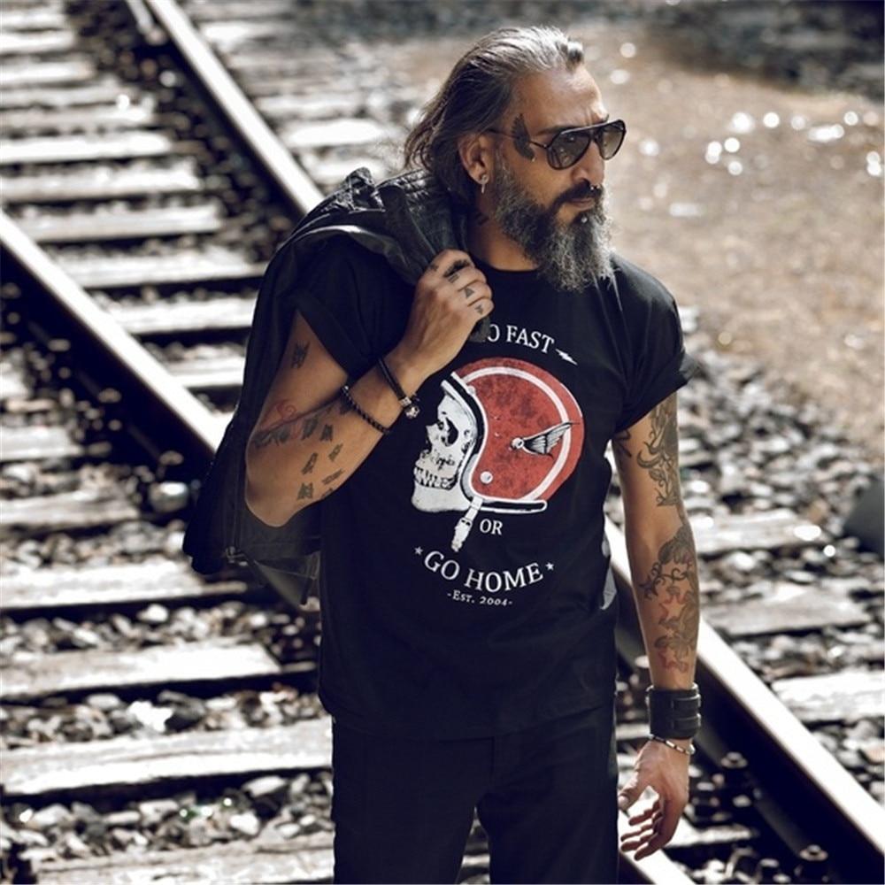 Creative Skull Print   T     Shirts   Men Women Fashion Short Sleeve Motorcycle Helmet Tee Tops Streetwear Cotton O-Neck Funny   T  -  shirts